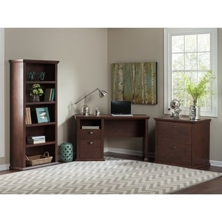 Yorktown Home Office Desk with Bookcase and Lateral File Cabinet