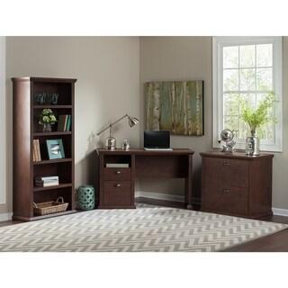 Copper Grove Senaki Home Office Desk with Bookcase and Lateral File Cabinet in Antique Cherry