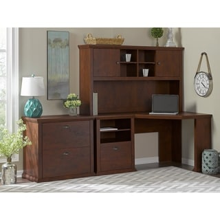 Yorktown Antique Cherry Corner Desk with Hutch and Lateral File Cabinet