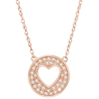 H Star Rose Goldplated Sterling Silver 1/6ct TDW Diamond Heart Circle Pendant