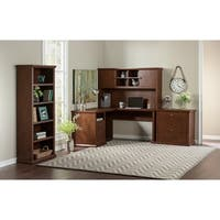 Bush Furniture Yorktown L Shaped Desk with Hutch, Lateral File Cabinet and Bookcase in Antique Cherry