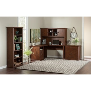 Yorktown L Shaped Desk, Hutch, File Cabinet and Bookcase in Cherry