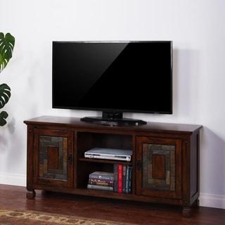 Sunny Designs 62-inch Dark Hazelnut Birch and Slate TV Console