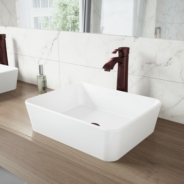 VIGO Marigold Matte Stone Vessel Bathroom Sink and Otis Faucet Set