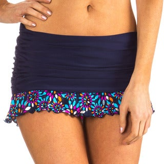 Mazu Swim Metal Leaf Navy Ruched Skirt