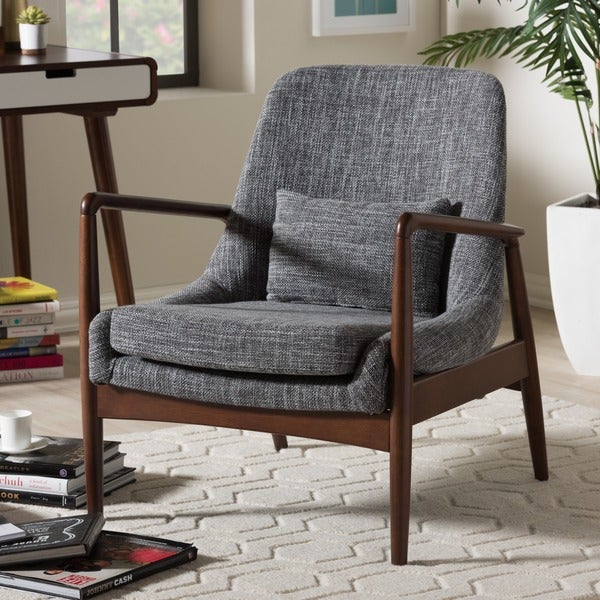 Gentil Baxton Studio Dixon Mid Century Modern Grey Fabric Upholstered Lounge Chair