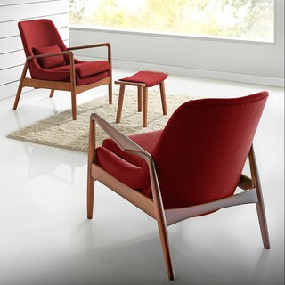 Baxton Studio Red Fabric Upholstered Lounge Chair