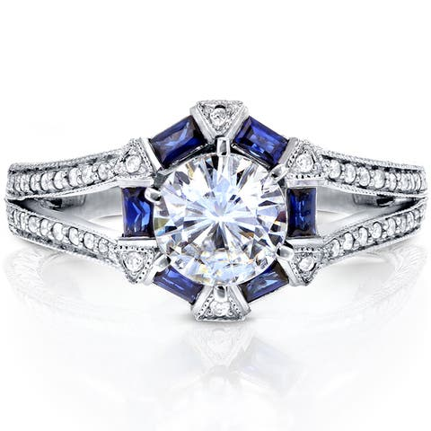 Annello by Kobelli 14k White Gold 1 3/5ct TGW Moissanite and Diamond with Sapphire Accents Art Deco Split Shank Ring