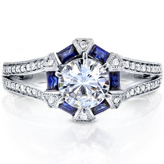 Annello by Kobelli 14k White Gold Moissanite, Sapphire, and 1/4ct TDW Diamond Art Deco Ring (G-H, I1-I2)