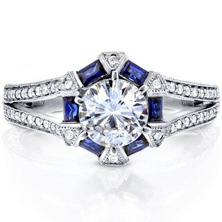 Annello by Kobelli 14k White Gold Round-cut Moissanite, Blue Sapphire and 1/4ct TDW Diamond Art Deco