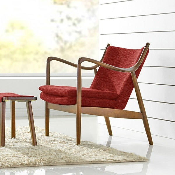 Marvelous Baxton Studio Diamond Mid Century Modern Pine Brown Finished Red Fabric  Upholstered Club Chair With