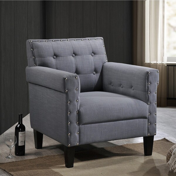 Shop Dandridge Contemporary Grey Fabric Upholstered Button