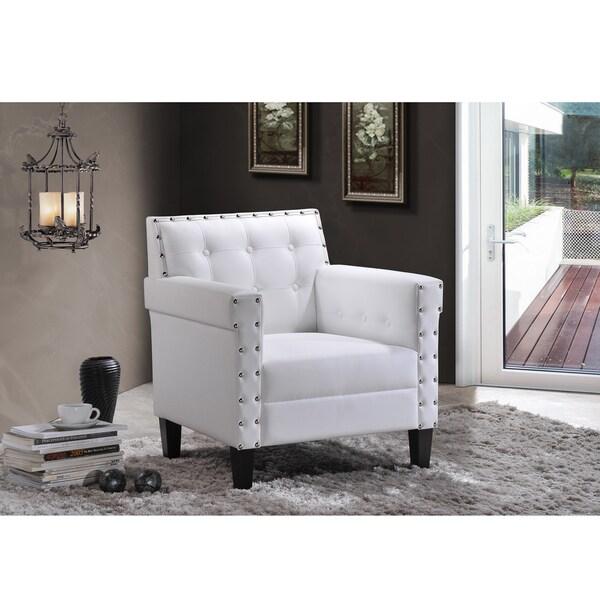 Shop Dandridge Contemporary White Faux Leather Tufted Club