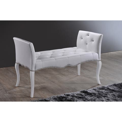 Breslin Contemporary White PU Leather Upholstered And Tufted Bench With Nail Trim And Wood Legs In Coaster White Finish