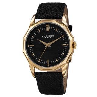 Akribos XXIV Men's Quartz Dodecagon Shape Bezel Leather Gold-Tone Strap Watch