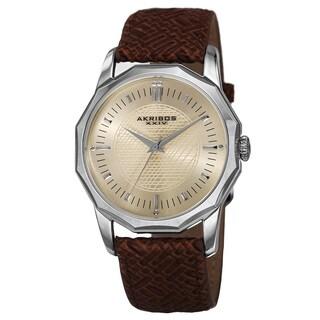 Akribos XXIV Men's Quartz Dodecagon Shape Bezel Leather Silver-Tone Strap Watch