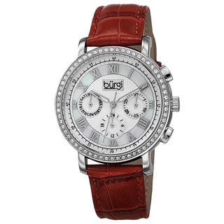 Burgi Ladies Swiss Quartz Multifunction Dual-Time Leather Red Strap Watch
