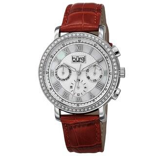 Burgi Ladies Swiss Quartz Multifunction Dual-Time Leather Red Strap Watch