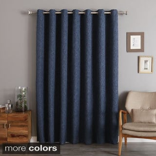 Aurora Home Wide Width Heathered Linen Look Blackout Grommet Curtain Panel