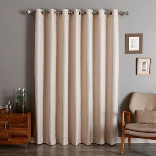 Aurora Home Wide Width Basketweave Linen Look Room Darkening Grommet Curtain Panel