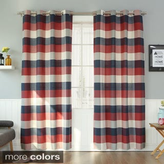 Aurora Home Cotton Poly Large Check Grommet Curtain Pair