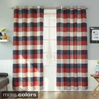 Aurora Home Cotton Poly Large Check Grommet Curtain Pair