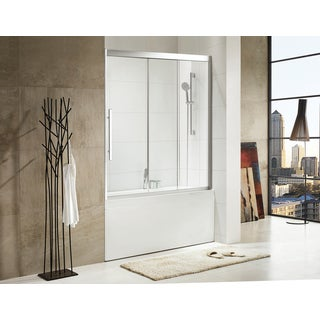 Paragon Bath - TORRENTO - Premium (8mm) Thick Clear Tempered Glass, 59 in. W x 58 in. H, Sliding Shower Door in Chrome