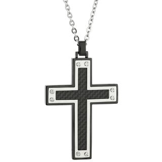 Stainless Steel Carbon Fiber Men's Cross Pendant Neckalce