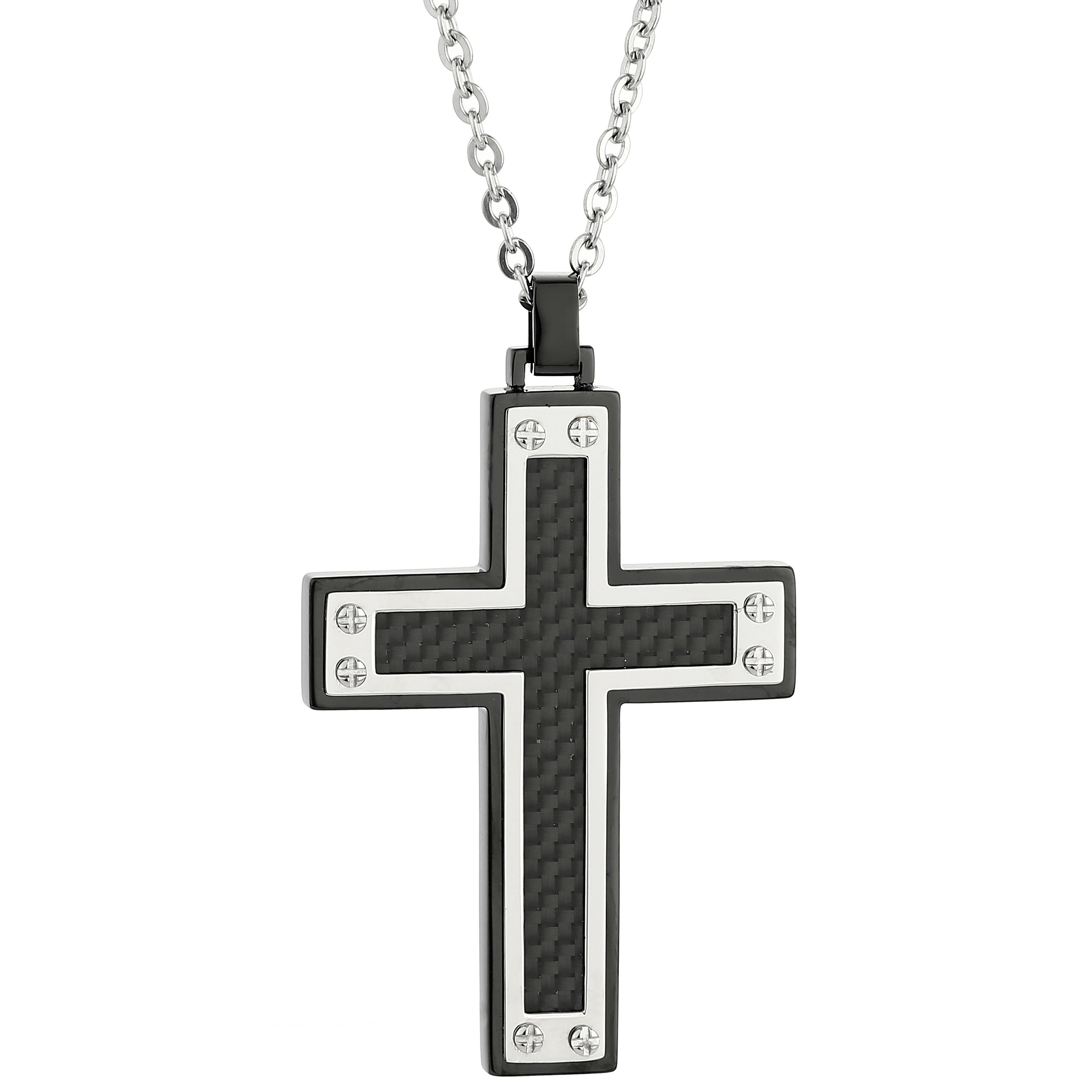 "Men/'s Silver Stainless Steel Black Carbon Fiber Cross Pendant Necklace 22/"" Chain"
