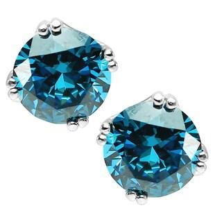 Michael Valitutti Sterling Silver Blue Cubic Zirconia Earrings