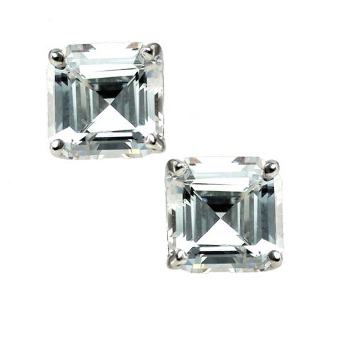Michael Valitutti Sterling Silver Cubic Zirconia Princess Stud Earrings