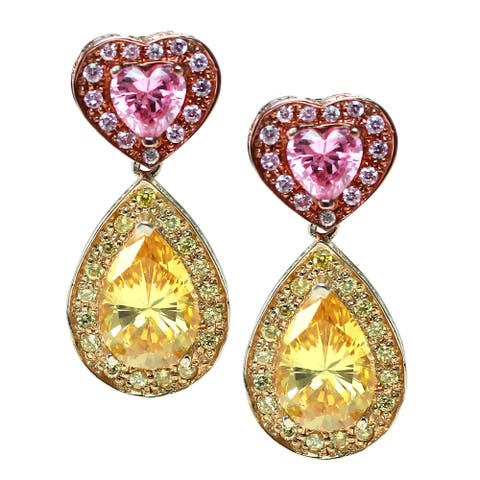 Gems en Vogue Silver Pink and Yellow Cubic Zirconia Drop Heart Earrings