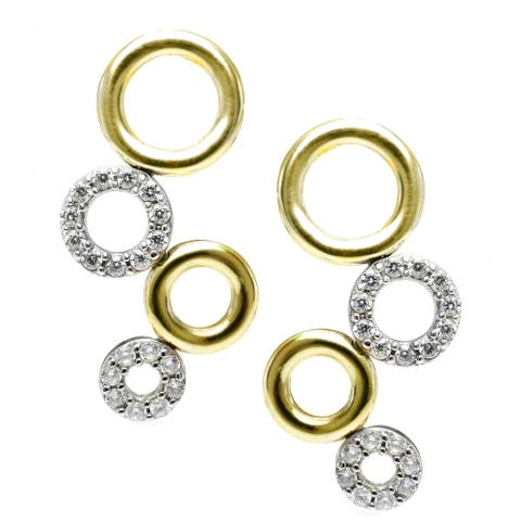 Gems en Vogue Two Tone Gold Cubic Zirconia Earrings