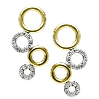 Michael Valitutti Two Tone Gold Cubic Zirconia Earrings