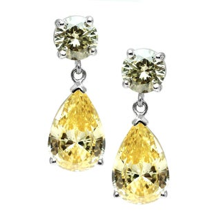 Michael Valitutti Sterling Silver Yellow Cubic Zirconia Earrings