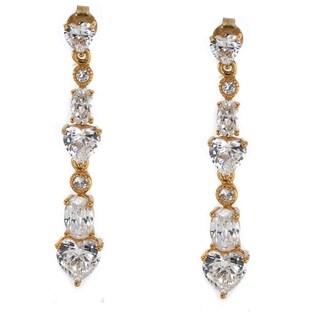 Michael Valitutti Sterling Silver Cubic Zirconia Heart Dangle Earrings