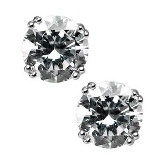 Michael Valitutti Sterling Silver Cubic Zirconia Earrings (Option: Stud)