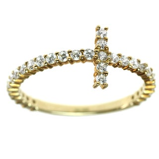 Michael Valitutti Gold Cubic Zirconia East West Cross Ring
