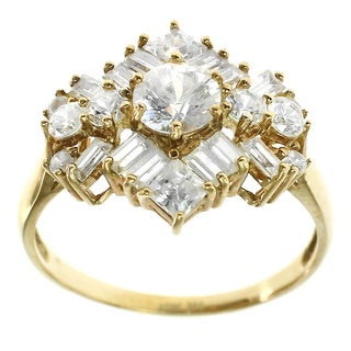 Michael Valitutti 10k Yellow Gold and Cubic Zirconia Ring