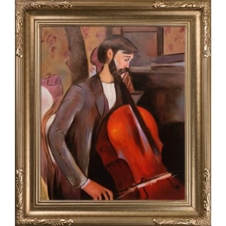 Amedeo Modigliani 'The Cellist' Hand Painted Framed Canvas Art