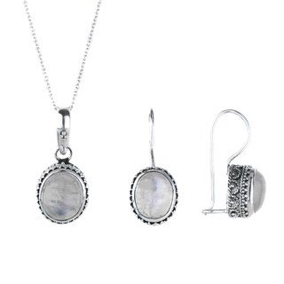 Moonstone Vintage-Inspired Silvertoned Necklace And Earring Set