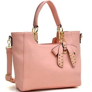 Dasein Metal Handle Faux Leather Structured Satchel with Bow Accent|https://ak1.ostkcdn.com/images/products/10185429/P17311369.jpg?impolicy=medium
