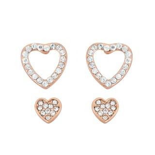 Isla Simone 14k Rose Goldplated Crystal Heart Earring Set