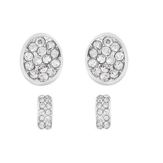 Isla Simone Rhodium-plated Oval and Hoop Crystal Earring Set