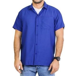La Leela Men's Solid Royal Blue Hawaiian Shirt