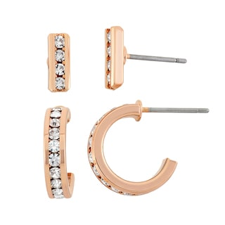 Isla Simone 14k Rose Goldplated Clear Crystal Small Bar and 13.5mm Hoop Earring Set