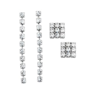 Isla Simone Rhodium-plated 3x3 Stud and Linear Crystal Earring Set