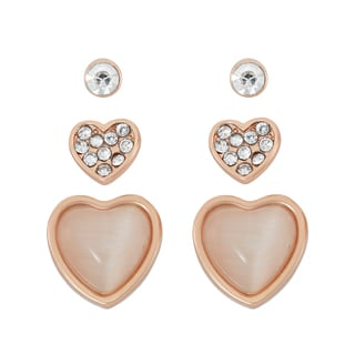 Isla Simone 14k Rosegold Plated Cat's Eye and Crystal Heart 3-piece Earring Set
