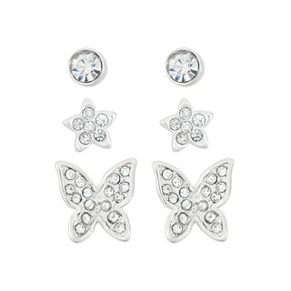 Isla Simone Rhodium-plated Crystal Butterfly and Star Earring 3-piece Set