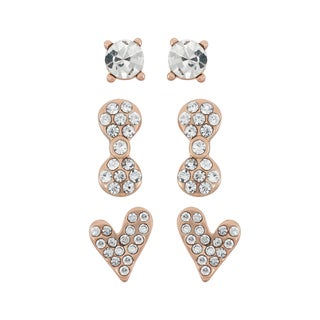 Isla Simone 14k Rose Goldplated Crystal Bow and Heart 3-piece Earring Set